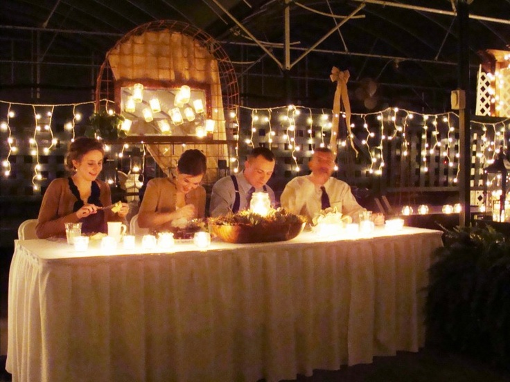 Head table at wedding in Scheiderer Farms greenhouse