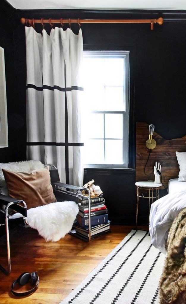 """""""Dress up a pair of white IKEA curtains with a fun, graphic grid pattern made out of iron-on tape ribbon."""" 