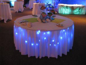 Underlighting on the bride's table or the food table seems festive. #weddingreception