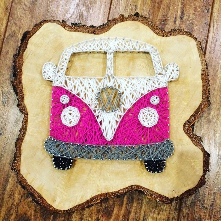 VW Camper String Art in PINK £20! Sparkle Creations uk