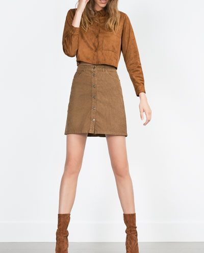 Image 1 of SHORT CORDUROY SKIRT from Zara