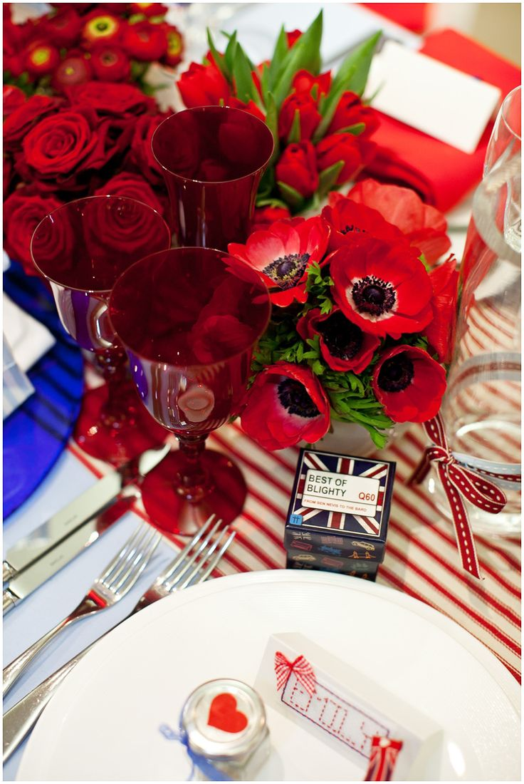 love the table cloth, love the flowers and plating. Naptkins would be a shade of blue with a red and white poka dotted bow.