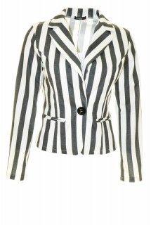 Licht zwart / wit gestreepte blazer ( Fashion Moda)