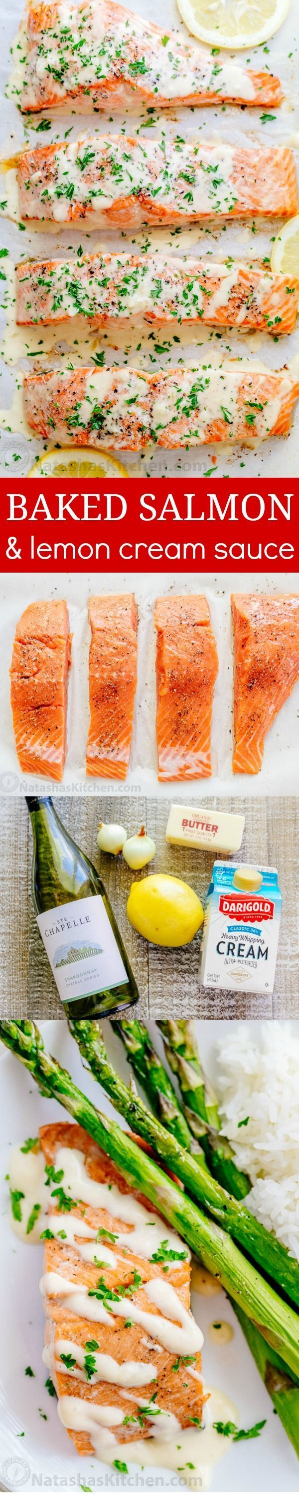 Oven Baked Salmon with flavorful and simple lemon cream sauce. Lemon beurre blanc, will be your secret weapon for seafood recipes. Gourmet flavors at home! | http://natashaskitchen.com