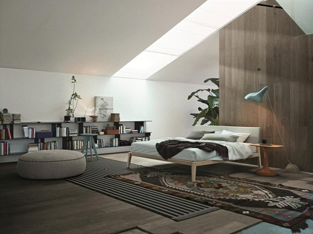 POLIFORM: Aton bed, Vulcano coffee table, Elise pouf, Ics stool and Skip wall mounted shelves