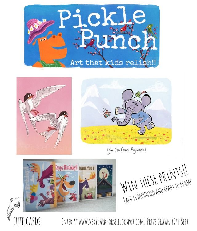Win Pickle Punch Art prints and cards here! The Golden Adventures of a Very Dark Horse, are giving away a children's art package. Draw is Sept 12th.
