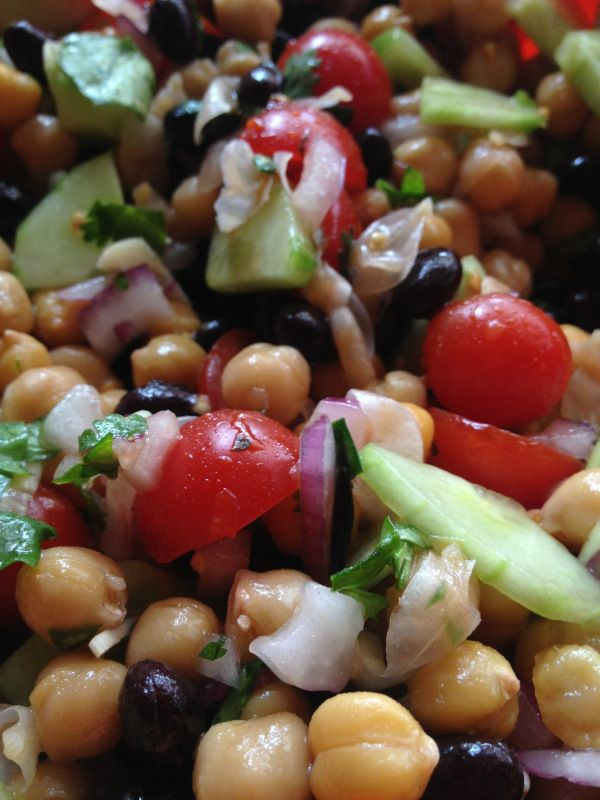 Salad with chick peas. Nutritious, healthy and really tasty! Look for alternative ways to cook certain foods. The whole family will love it!