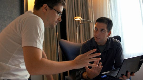 """Citizenfour"" / The heart of Laura Poitras's documentary is an interview with the whistle-blower Edward Snowden in a Hong Kong hotel room shortly before he fled to Russia. The sympathetic film assumes that Mr. Snowden's leaking of classified government documents was a heroic act. He comes across as an idealistic little guy standing up to giants. (Photo: Radius-TWC)"