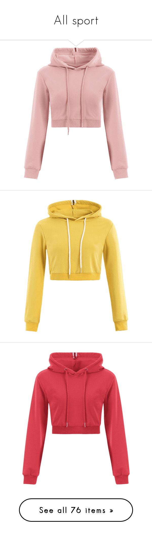 """""""All sport"""" by zaful ❤ liked on Polyvore featuring tops, hoodies, sports hoodies, sports crop tops, drawstring hoodie, cropped hoodie, cropped hooded sweatshirt, red top, cropped hoodies and red hooded sweatshirt"""