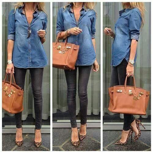 JEAN shirt, tights, leopard print heels