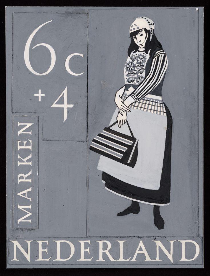 Volledig ontwerp voor Zomerpostzegel 1958, Klederdracht Marken ontwerper: Ouden, Willem den #NoordHolland #Marken