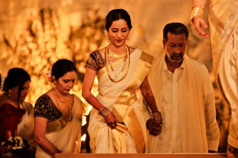 MALAYALI WEDDING- FINALLY!!! Gold and Cream Saree for Malayali wedding www.weddingsonline.in