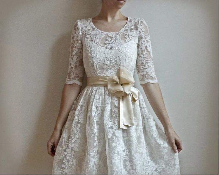 Simple  Lace Wedding Dress No Back Sash Mature Bridal Weddings Informal Gowns Eyelet
