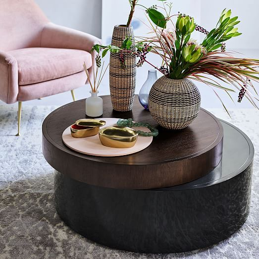 Stacked Disk Storage Coffee Table Walnut Anthracite Decorating