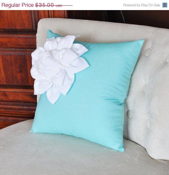 MOTHERS DAY SALE White Corner Dahlia on Bright Aqua Pillow 14 X 14 Aqua Blue Pillow Toss Pillow Decorative Pillow