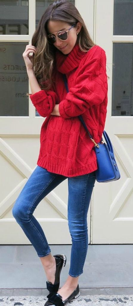 Red over-sized sweater.