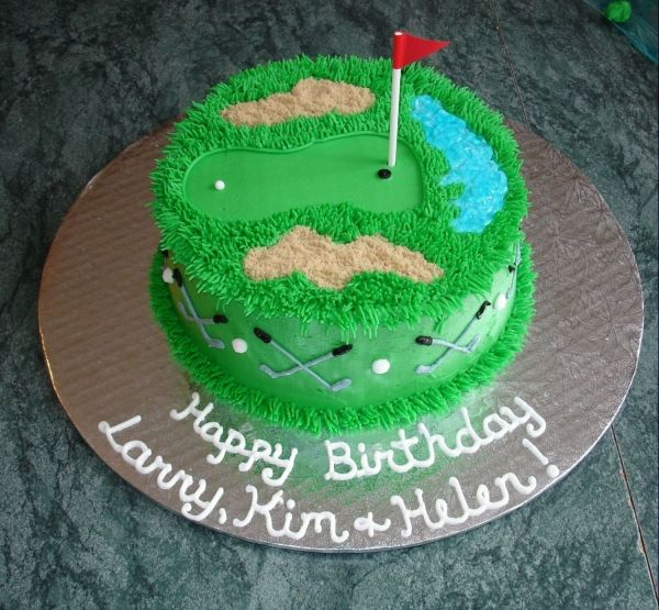 "Golf Cake ""make the hole an indent, place the golf ball at the tip of the hole, have a golfer putting the ball"""