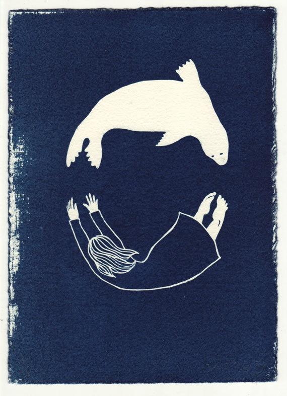 Seal/Woman - limited edition cyanotype original print. $33.00, via Etsy.