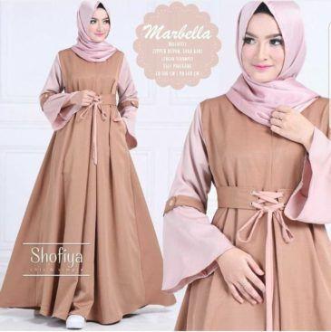 Baju Atasan Pakaian Wanita Gamis Hijabers Marbella Dress Choco