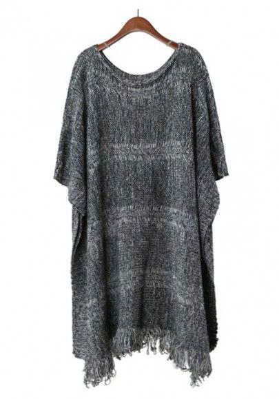 Grey Plain Round Neck Half Sleeve Cotton Sweater