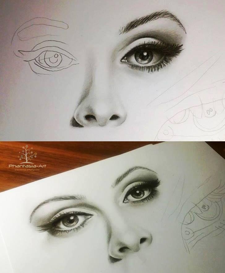 Eyes, nose and lips pencil drawing tutorial.  como cuando quedan bien los dos ojos, bueno así