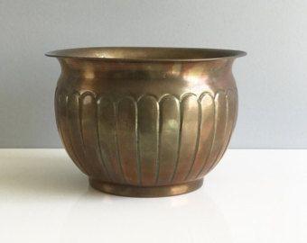 Brass Planter / Round Brass Planter / Brass Pot / Round Brass Plant Holder