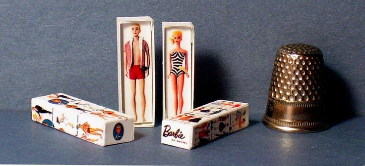 Dollhouse Miniature 1:12 Ken and Barbie Doll Box Set 1950s retro dollhouse toy #Unbranded