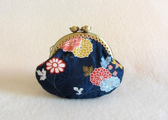 Coin purse floral clasp purse  frame coin pouch  gift for