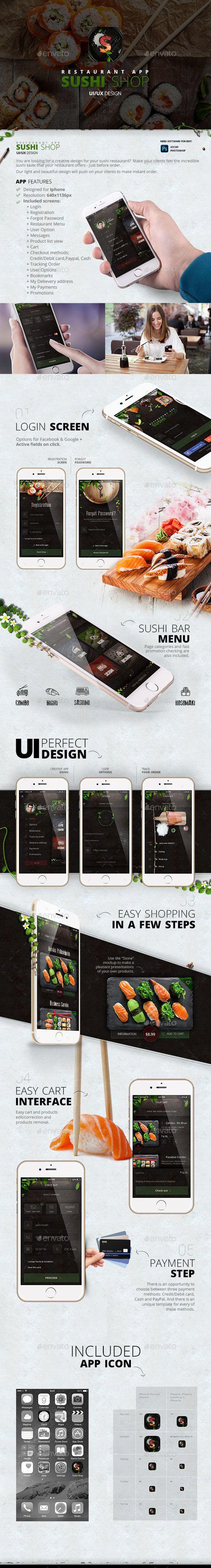 Sushi Shop Restaurant – App design (User Interfaces)