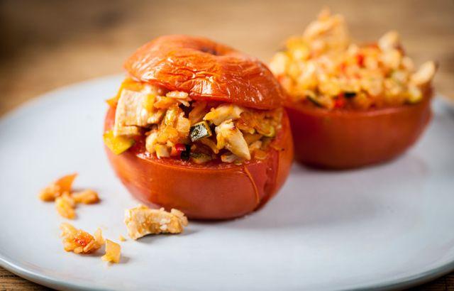 Turkey stuffed tomatoes - Adam Byatt