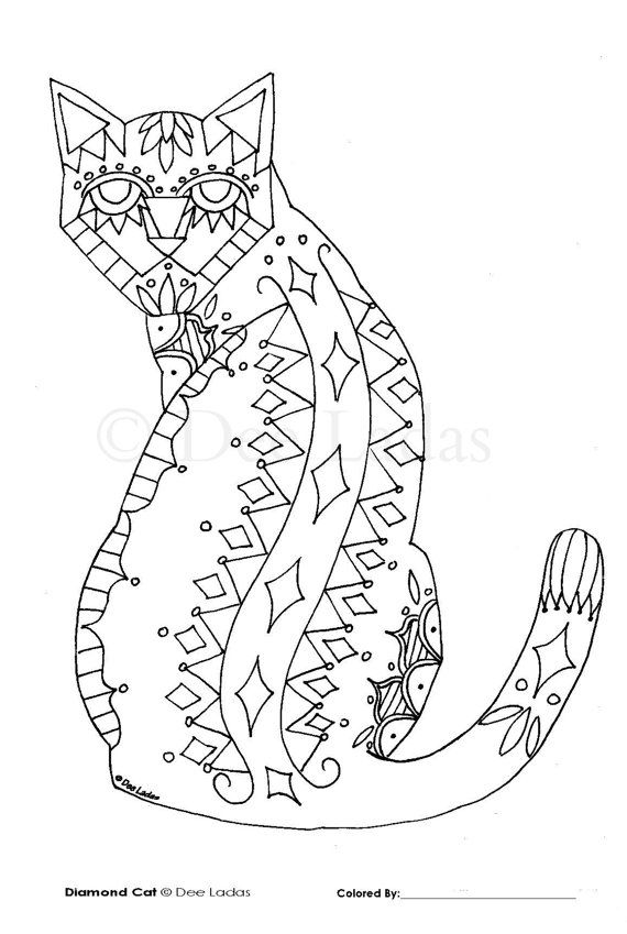 Diamond Cat Adult Coloring Page by WoodlandAndRose Cats