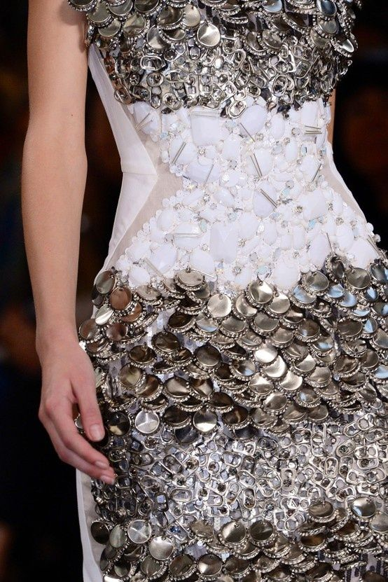 Recycled Dress made from bottle tops, drink can rings and disposable plastic spoons - sustainable fashion design