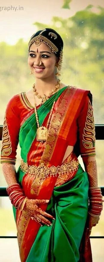 Traditional Southern Indian bride wearing bridal saree, temple jewellery and hairstyle. #IndianBridalMakeup