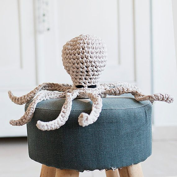 Beige crocheted octopus made with eco yarn perfect for