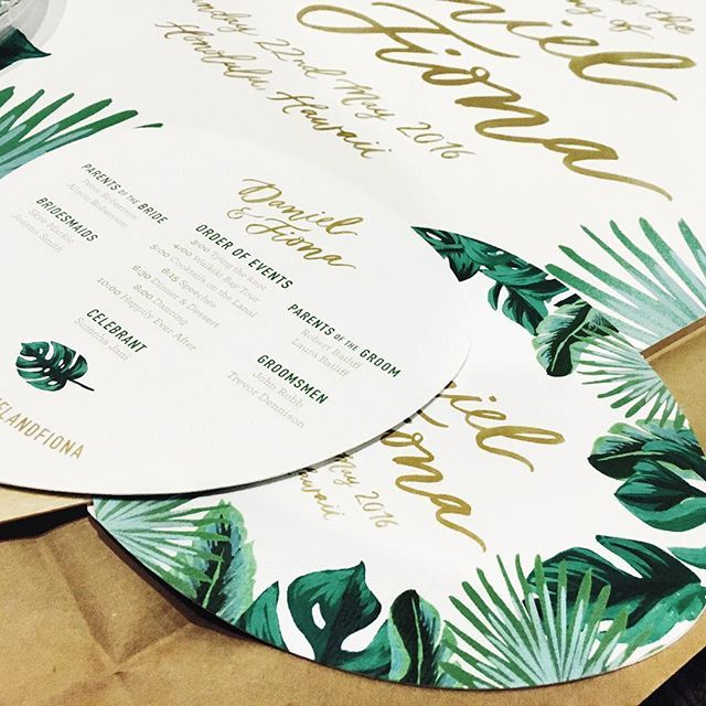 """Sneaky peek time! Some pretty tropical program fans and welcome sign going out to one of our lovely brides today "" Photo taken by @foxandfallow on Instagram, pinned via the InstaPin iOS App! http://www.instapinapp.com (03/23/2016)"