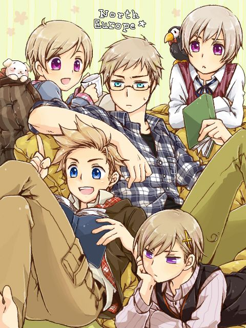 Hetalia Nordic countries: Finland, Sweden, Iceland, Denmark, and Norway <3