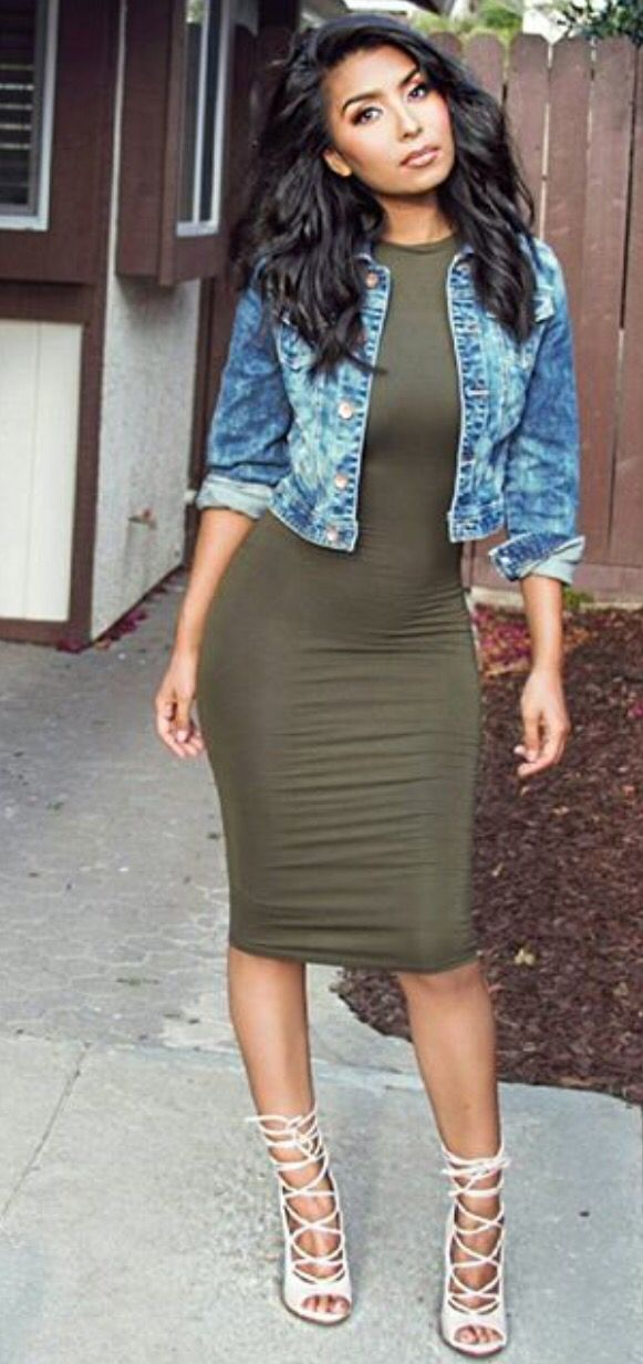 Pinning this for the green dress. Saw Kim K wearing this on KUWTK, she looked fabulous. I love this look too, just not a huge fan of the Jean jacket.