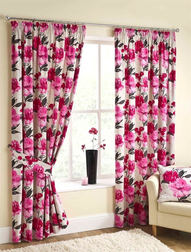 Olivia Pencil Pleat Curtains in Pink