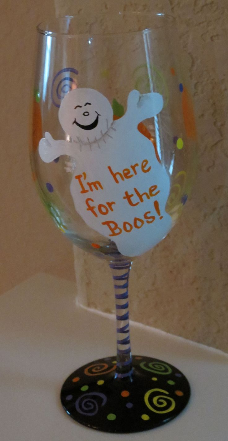 painted wine glass for Halloween