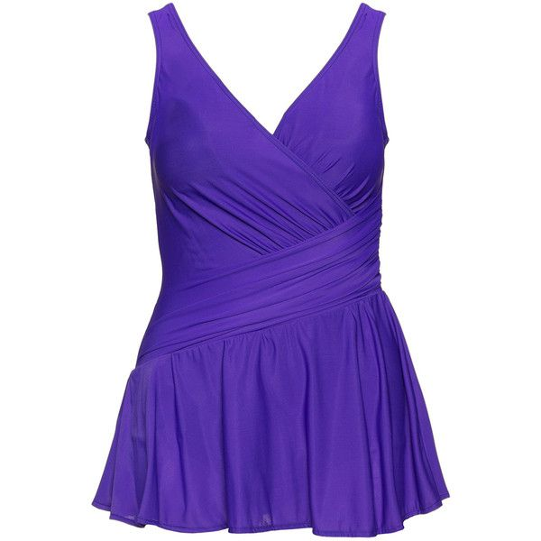 Miraclesuit Purple Plus Size Aurora skirted swimsuit ($190) ❤ liked on Polyvore featuring swimwear, one-piece swimsuits, plus size, purple, purple swimsuit, swimsuit swimwear, low back swimsuit, plus size one piece swimsuit and womens plus size swim suits