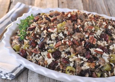 Wild Rice- Dried Cherry and Jones Sausage Stuffing