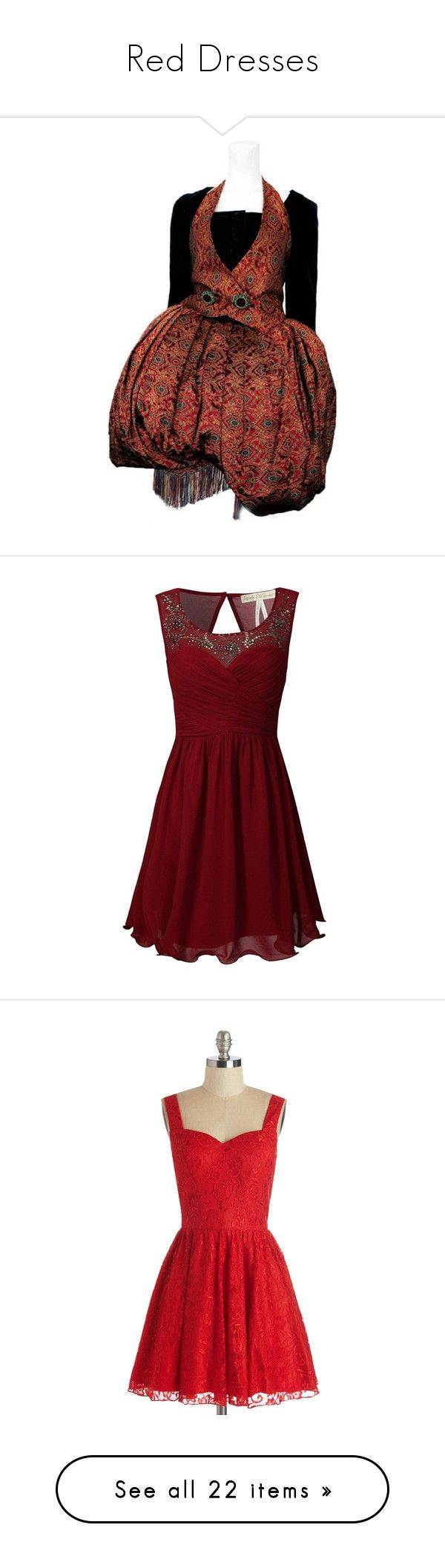 """""""Red Dresses"""" by xxbeauty4rmpainxx ❤ liked on Polyvore featuring dresses, embellished dress, red fringe dress, long sleeve dresses, fringe dress, longsleeve dress, red christmas dress, christmas dresses, red dress and christmas cocktail dresses"""