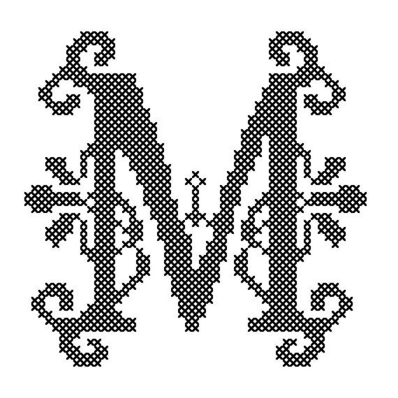 Counted Cross Stitch Pattern Formal Letters for Initials Letter M - Instant Download Epattern PDF File