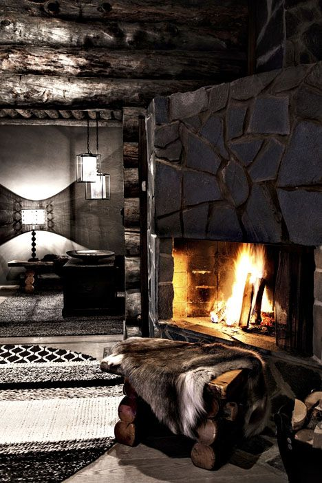 ♂ Masculine, crafty & rustic dark interior living space design fireplace