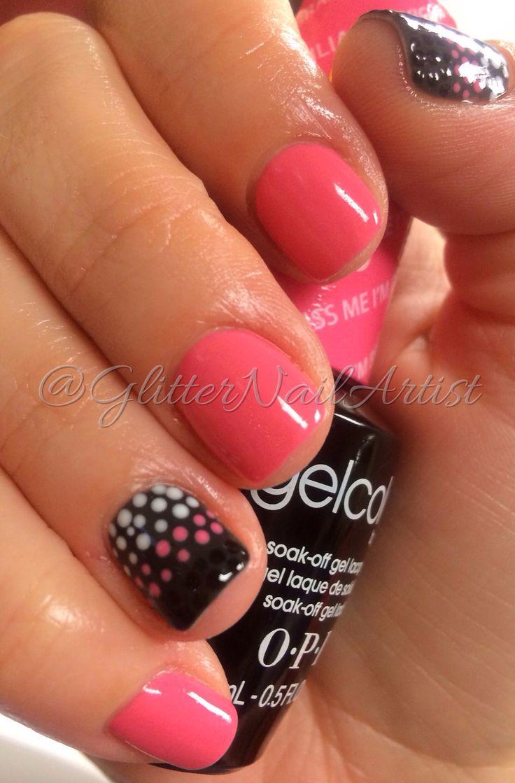 GlitterNailArtist bright pink nails, polka dots, fun summer nails, nail art ideas accent nail