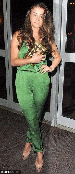 Looking good: Brooke Vincent opted for a vibrant green ensemble for her evening out with t...