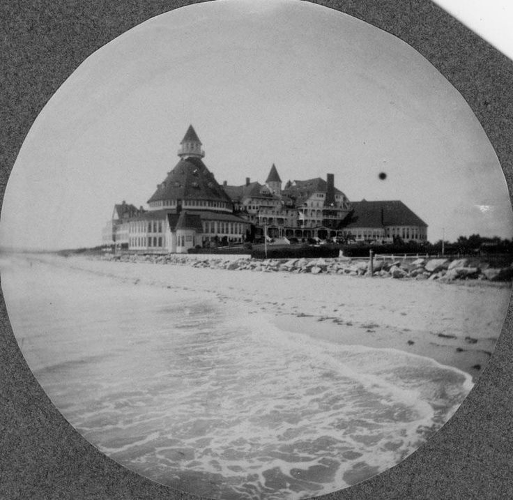 """Famed Hotel Del Coronado; San Diego circa 1908. The beach has been extended a number of times over the decades to protect the hotel from flooding and to build more rooms/ bungalows. Fave spot for the Hollywood crowd, it is fondly remembered as the Florida hotel location for """"Some Like It Hot."""" It is also one of the few hotels that has successfully marketed its """"haunted"""" rooms to the point that they are booked most days of the year."""