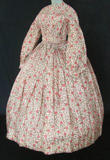 All The Pretty Dresses: 1840's Rose Print Dress