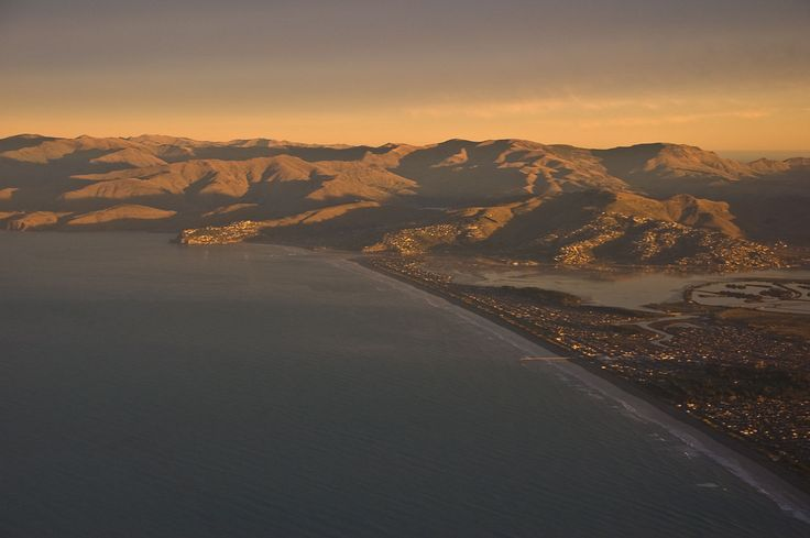 Aerial view of New Brighton beach and the Port Hills
