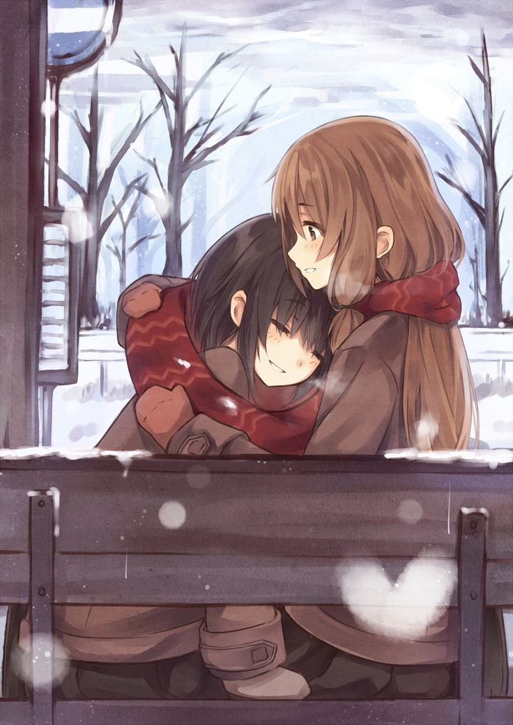 ✮ ANIME ART ✮ yuri. . .girls in love. . .hug. . .cuddle. . .snow. . .winter. . .scarves. . .mittens. . .blushing. . .smile. . .cute. . .kawaii: